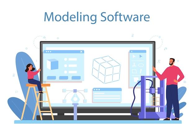 Modellierung des online-dienstes oder der plattform für schulfächer