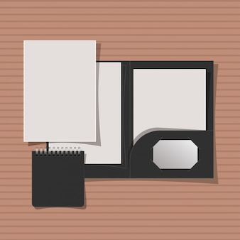 Modellordner und notizbuch