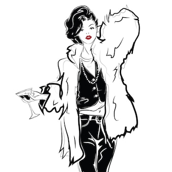 Modemädchen im sketch-stil mit einem glas wein oder martini. vektor-illustration