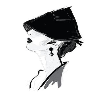 Modemädchen in der skizzenart.