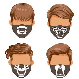 Modemasken-set. wildtiersammlung. mode für männer schwarzweiss-druckmuster auf stoff.