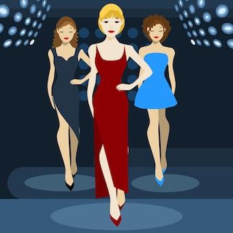 Modenschau flache vektorgrafik, drei modelle in abendkleidern auf dem laufsteg, modenschau, mannequinparade, auf blauem hintergrund, für poster und cover