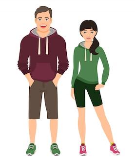 Modepaare in der eignung oder im laufenden outfit. mann und frau kurz gesagt und hoodie, vektorillustration