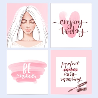 Modeplakate mit positiven zitaten.