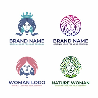 Modern, beauty frau logo sammlung.