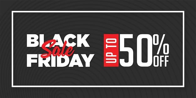 Modern black friday sale 50% rabatt auf banner design vorlage