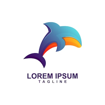 Modern color whale logo premium