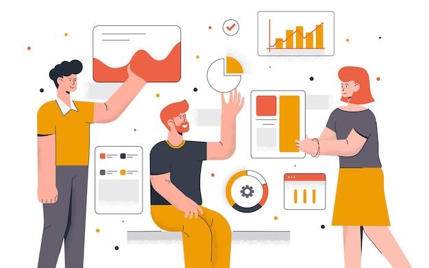 Modern der datenanalyse. junger mann und frau arbeiten zusammen am projekt. büroarbeit und zeitmanagement. einfach zu bearbeiten und anzupassen. illustration