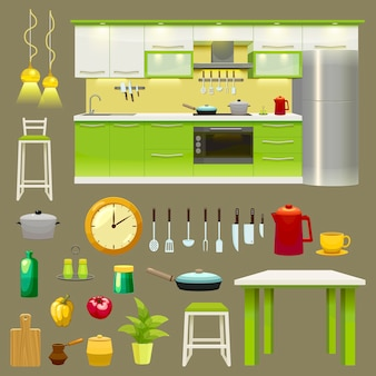 Modern kitchen interior icon set