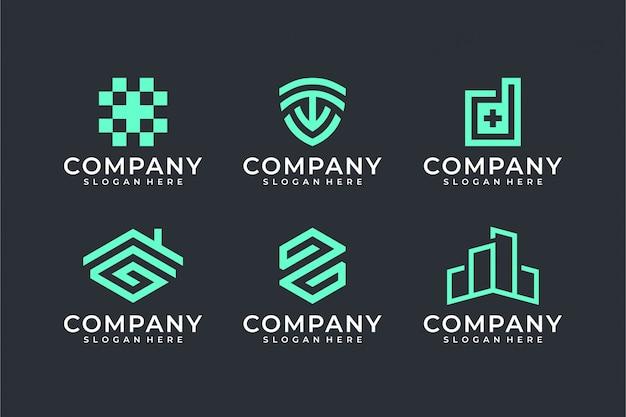 Modern line art logo set bundle