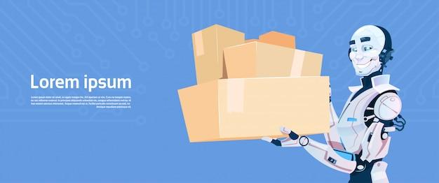 Modern robot hold boxed delivery courier futuristische künstliche intelligenz-mechanismus-technologie