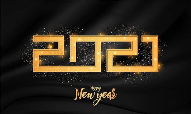 Moderne 2021 frohes neues jahr-karte mit luxus golden 3d text effekt ornament