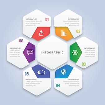 Moderne 3d-infografik-vorlage mit sechs optionen für workflow-layout, diagramm, jahresbericht, webdesign