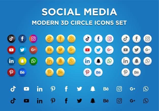 Moderne 3d-kreissymbole der sozialen medien eingestellt