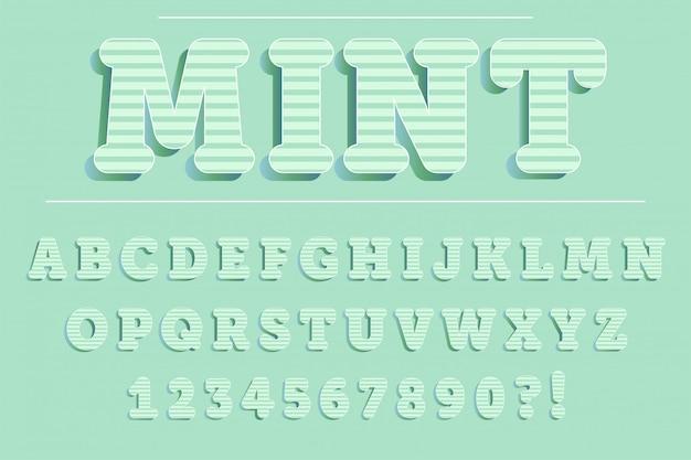 Moderne 3d-minze alphabet buchstaben, zahlen und symbole. süße typografie. vektor