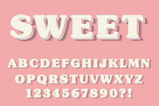 Moderne 3d rosa alphabet buchstaben, zahlen und symbole. süße typografie. vektor