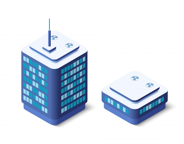 Moderne 3d-stadt isometrisch
