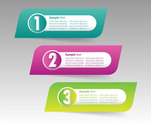 Moderne 3d-textfeldvorlage, banner infografiken