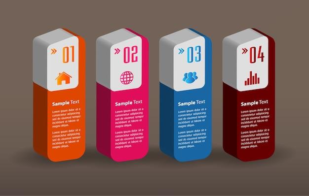 Moderne 3d-textfeldvorlage infografiken