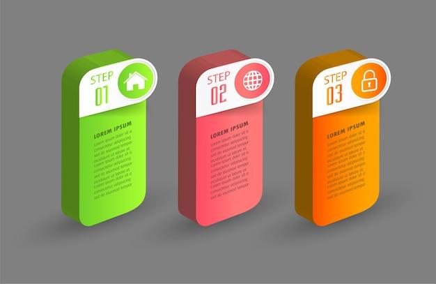 Moderne 3d-textfeldvorlage, infografiken