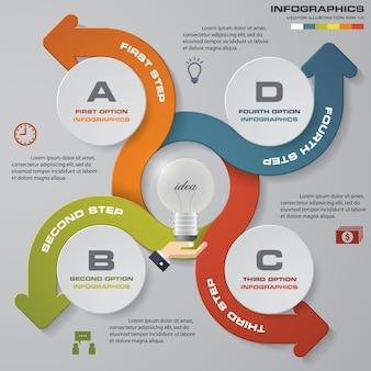 Moderne 4 optionen präsentationsgeschäft infografiken