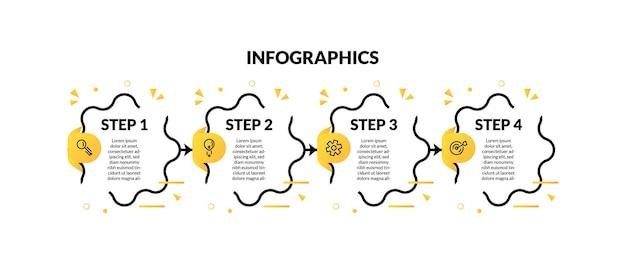 Moderne 4-stufen-infografik mit farbverlaufsdekorationen im memphis-stil. perfekt für präsentation, prozessdiagramm, workflow und banner