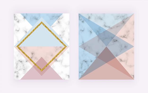 Moderne abdeckung mit geometrischem design, goldenen linien, rosa und blauen dreieckigen formen.