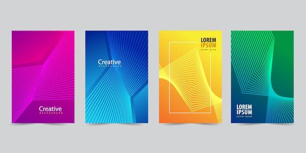 Moderne abdeckung vorlage mit abstrakten linien gesetzt