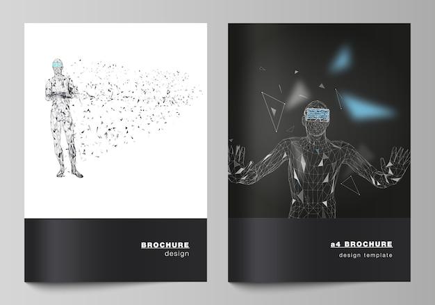 Moderne abdeckungsschablonen des formats a4 für broschüre, mann mit gläsern der virtuellen realität