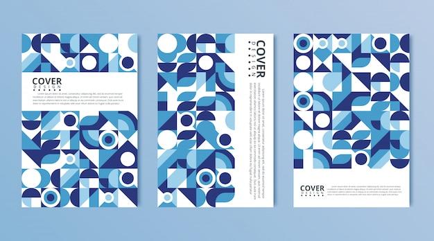 Moderne abstrakte abdeckungen eingestellt, minimales abdeckungsdesign. bunter geometrischer hintergrund