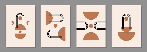 Moderne abstrakte ästhetische hintergründe mit geometrischen gleichgewichtsformen und -linien