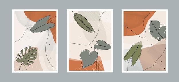 Moderne abstrakte blätter zeichnen kunsthintergrund mit verschiedenen formen für die wanddekoration, postkarte.