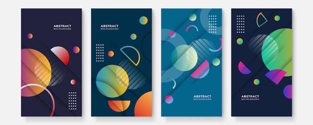 Moderne abstrakte cover-story-social-media-set, minimales cover-design. bunter geometrischer hintergrund, vektorillustration.