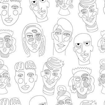 Moderne abstrakte gesichter. zeitgenössisches weibliches mann-frauen-porträt. handgezeichnete umriss trendige illustration. durchgehende linie, minimalistisches konzept. nahtloses muster.