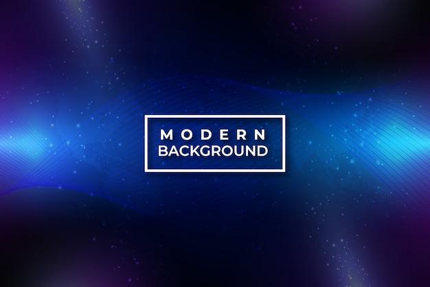 Moderne abstrakte gewundene welle auf dunkelblauem hintergrund mit partikel