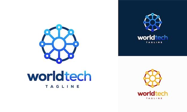 Moderne abstrakte kreistechnologie-logo-vorlage, world tech-logo-designs vektor, logo-symbol-symbol