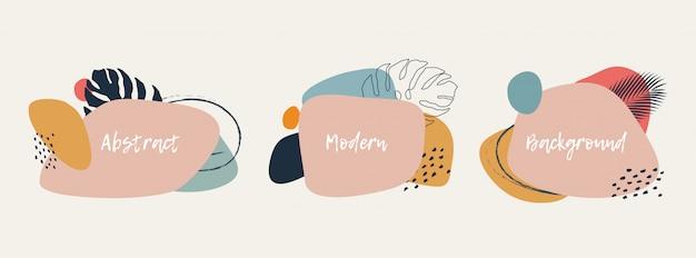 Moderne abstrakte kunsthintergründe gesetzt mit botanischen palmblättern und abstrakten geometrischen formen in pastellfarben. set trendiger kreativer sommerbanner für ihr design.