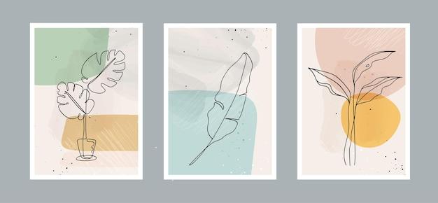 Moderne abstrakte linienblätter in linien und kunsthintergrund mit verschiedenen formen für die wanddekoration