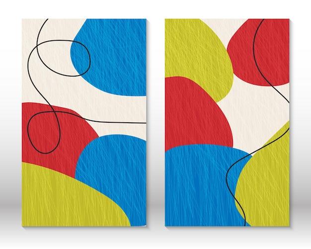 Moderne abstrakte malerei. satz flüssige strukturierte geometrische formen. abstrakte handgezeichnete aquarelleffektformen. wohnkultur-design. moderner kunstdruck. zeitgenössisches design.