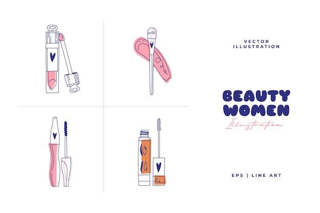 Moderne abstrakte schönheitsillustration. strichzeichnungsstil. doodle-vektor.