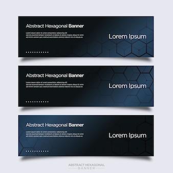 Moderne abstrakte sechseckige fahnen-design-vorlage