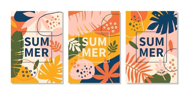 Moderne abstrakte sommerdesignvorlagen mit hellen blättern und pflanzen. vektorillustration