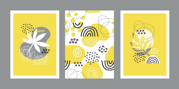 Moderne abstrakte sommerentwurfsschablonen mit hellen tropischen blättern