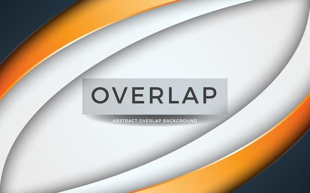 Moderne abstrakte überlappung auf weißem hintergrund mit oranger schicht