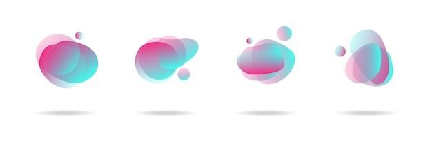 Moderne abstrakte vektorbanner stellen flache geometrische flüssige blobformen in bunten farben ein