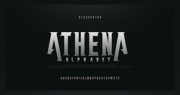 Moderne alphabetgüsse der rock-serife. typografie für rock, musik, spiel, zukunft, kreatives, abstraktes design, schriftart und -nummer
