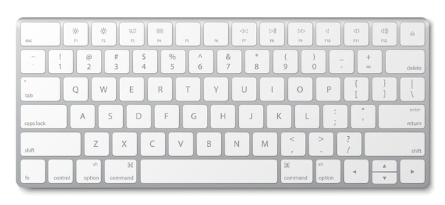 Moderne aluminium-computertastatur lokalisiert auf weiß