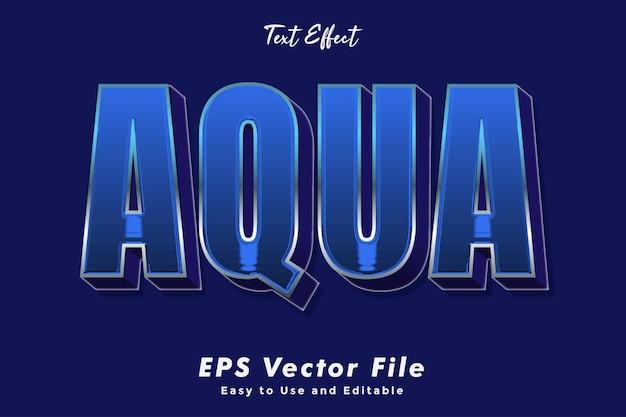 Moderne aqua texteffektschablone typografieeffektschablone