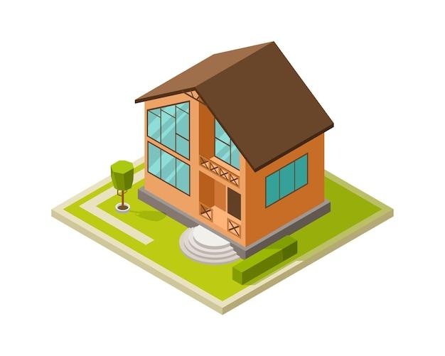 Moderne architektur. stadthaus, modernes familienhäuschen. isometrisches bauprojekt, isolierte 3d-home-vektor-illustration. vektorarchitekturhaus, ländliches isometrisches projekt bauend