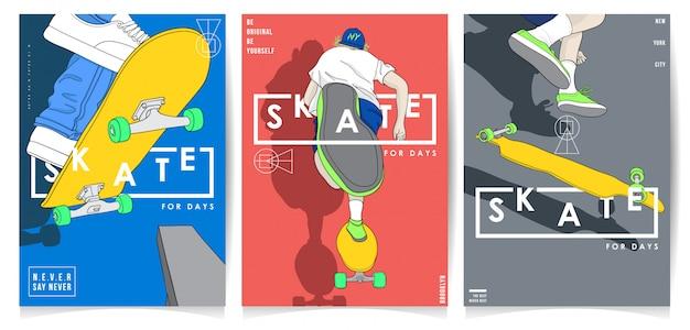 Moderne art, die mit typografieplakatsammlung skateboard fährt